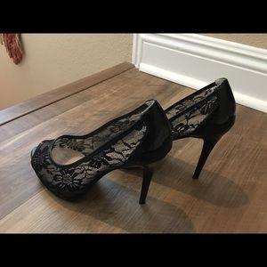 Guess lace peep hole platform heels